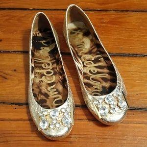 Sam Edelman gold jeweled ballet flats